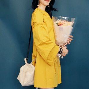 TIBI Satin Poplin trapeze Dress In Sanipis yellow